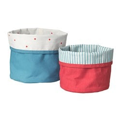 NÖJSAM basket, set of 2, red, blue