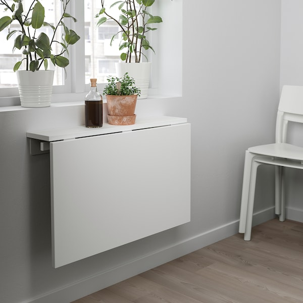 NORBERG Wall-mounted drop-leaf table, white, 74x60 cm