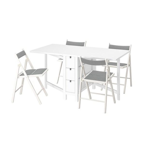 NORDEN / TERJE طاولة و4 كراسي, قابل للطي أبيض/Knisa أبيض/رمادي فاتح, 26/89/152 سم