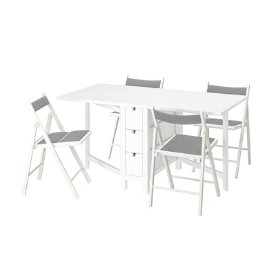 NORDEN / TERJE Table and 4 chairs, foldable white/Knisa white/light grey, 26/89/152 cm