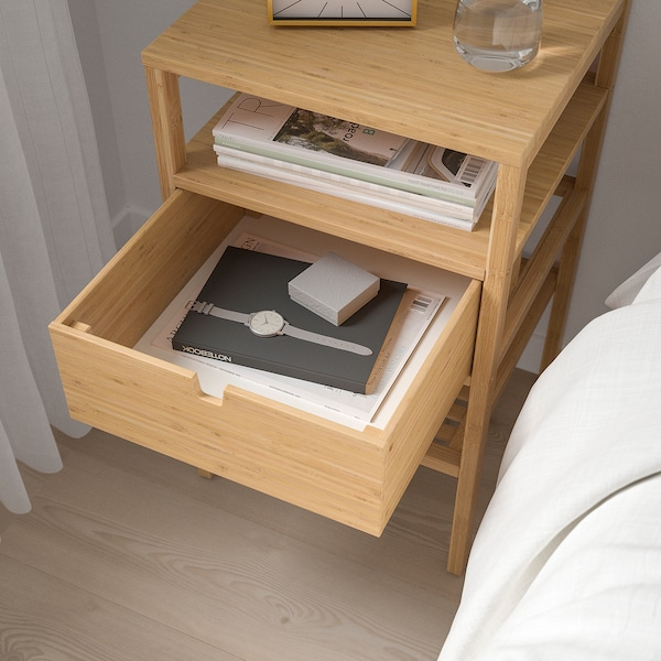 NORDKISA Bedside table, bamboo, 40x40 cm