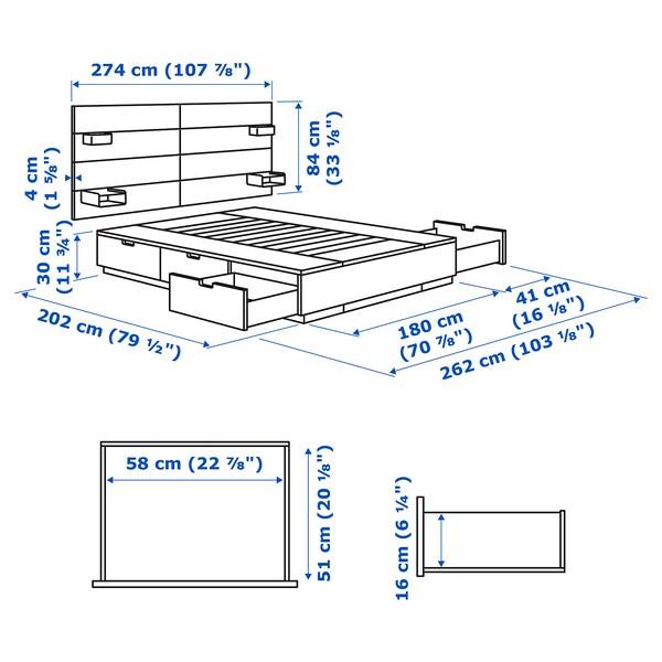 NORDLI هيكل سرير مع تخزين ولوح رأس, أبيض, 180x200 سم