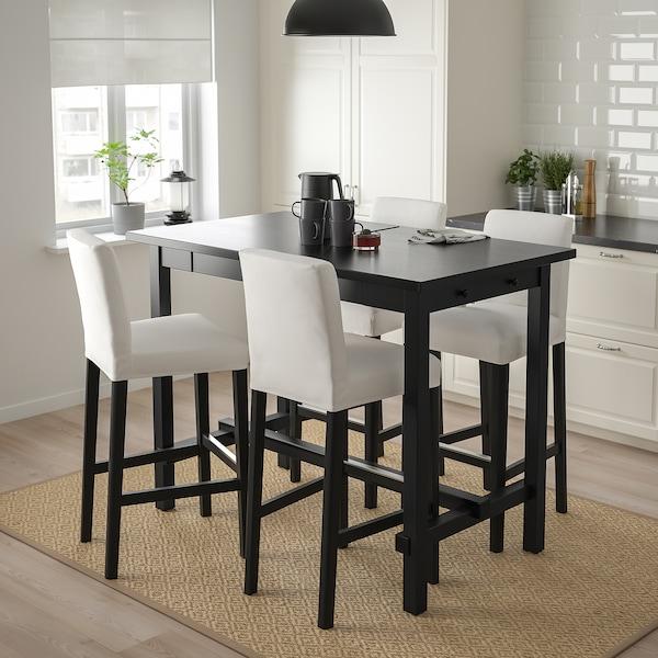 NORDVIKEN / BERGMUND Bar table and 4 bar stools, black/Inseros white/black