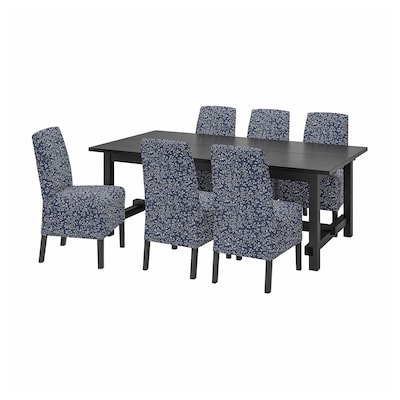 NORDVIKEN / BERGMUND طاولة و 6 كراسي, أسود/Ryrane أزرق غامق, 210/289 سم