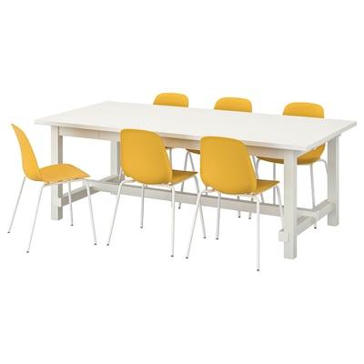 NORDVIKEN / LEIFARNE طاولة و 6 كراسي, أبيض/أصفر غامق أبيض, 210/289x105 سم