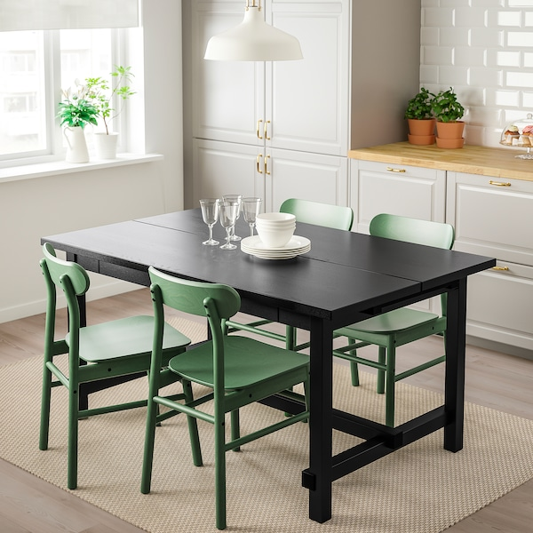 NORDVIKEN / RÖNNINGE table and 4 chairs black/green 152 cm 223 cm 95 cm