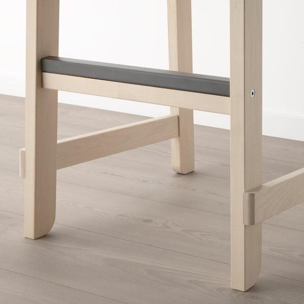 NORRÅKER Bar stool with backrest, birch, 74 cm