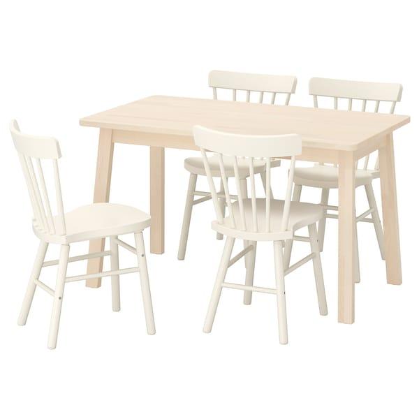 NORRÅKER / NORRARYD طاولة و4 كراسي, بتولا/أبيض, 125x74 سم