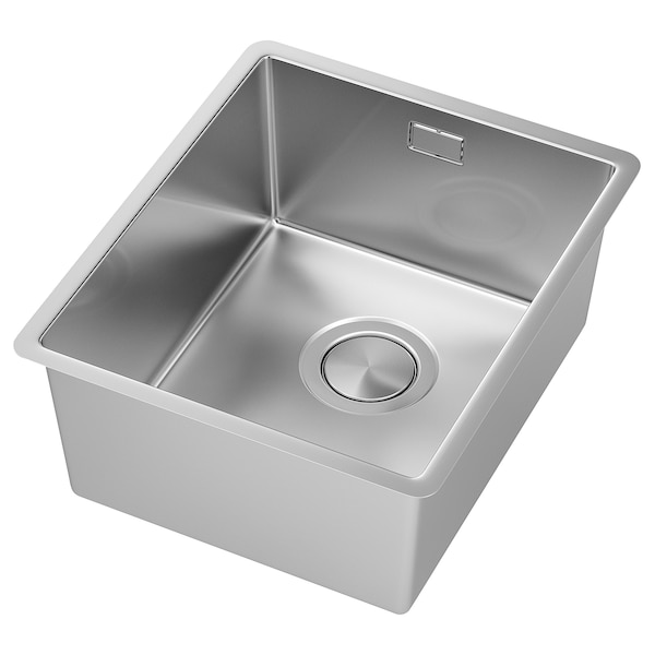 NORRSJÖN Inset sink, 1 bowl, stainless steel, 37x44 cm