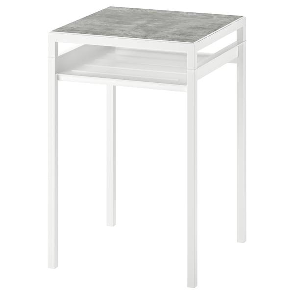 NYBODA Side table w reversible table top, light grey concrete effect/white, 40x40x60 cm