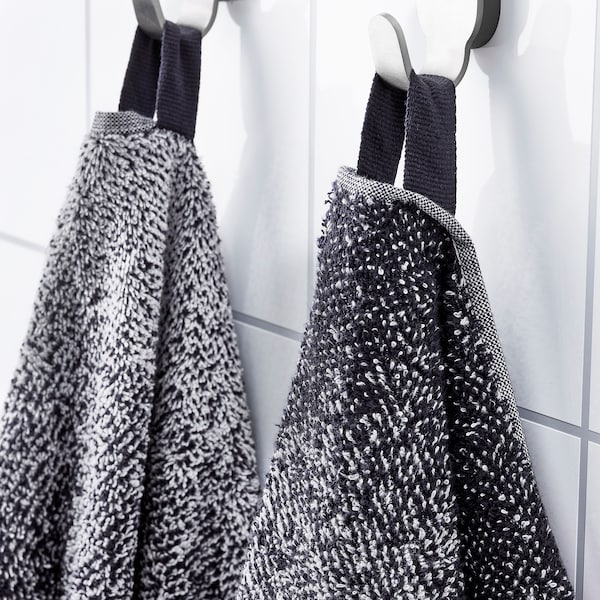 NYCKELN Bath towel, white/dark blue, 70x140 cm