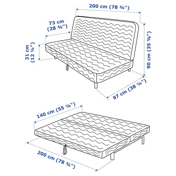 NYHAMN كنبة-سرير 3 مقاعد, مع مرتبة أسفنجية/Hyllie بيج