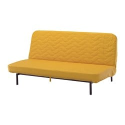 NYHAMN 3-seat sofa-bed, with pocket spring mattress, Skiftebo yellow