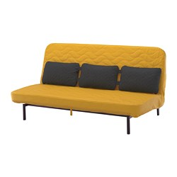 NYHAMN sofa-bed with triple cushion, with pocket spring mattress, Skiftebo yellow