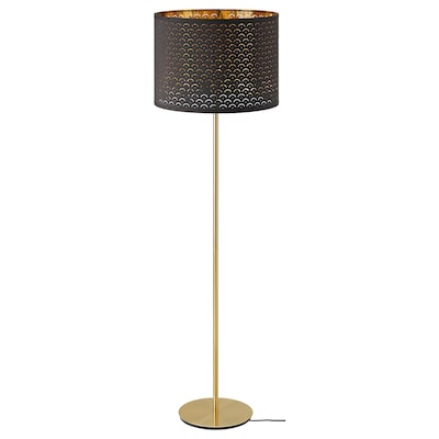 NYMÖ / SKAFTET Floor lamp, black brass/brass