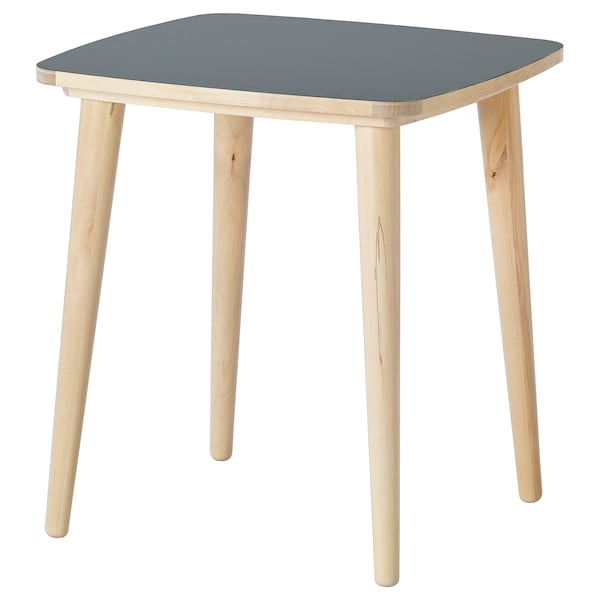 OMTÄNKSAM side table anthracite/birch 55 cm 55 cm 60 cm