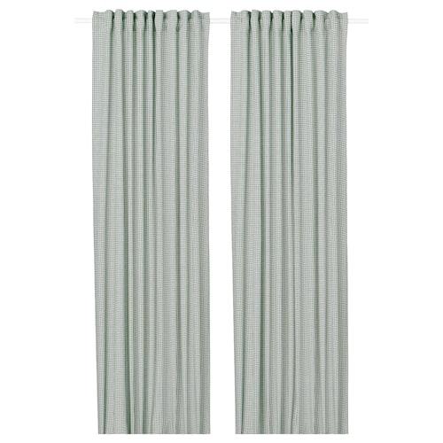 ORDENSFLY curtains, 1 pair white/green 300 cm 145 cm 1.85 kg 4.35 m² 2 pack