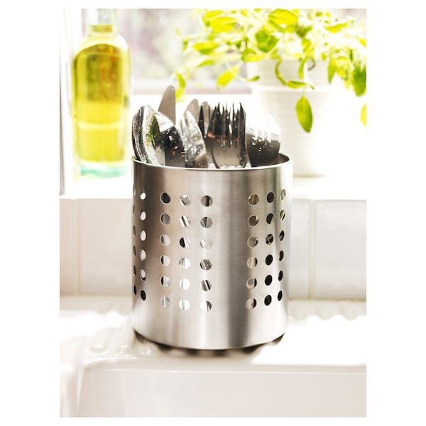 ORDNING Cutlery stand, stainless steel, 13.5 cm