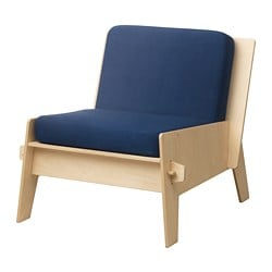 ÖVERALLT easy chair with cushions, plywood, blue