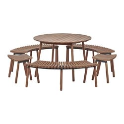 ÖVERALLT table w 3 benches and 2 stools, outdoor light brown