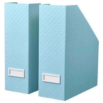 PALLRA حافظة مجلات، طقم من 2., أزرق فاتح, 10x25x30 سم