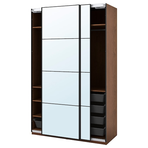 PAX / AULI wardrobe combination brown stained ash effect/mirror glass 150.0 cm 66.0 cm 236.4 cm