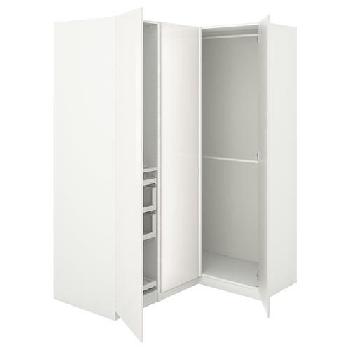 PAX corner wardrobe white/Fardal high-gloss/white 201.2 cm 110.5 cm 160.3 cm