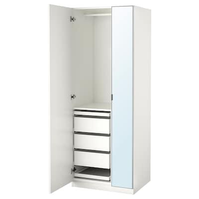 PAX / FORSAND/ÅHEIM Wardrobe combination, white/mirror glass, 75x60x201 cm