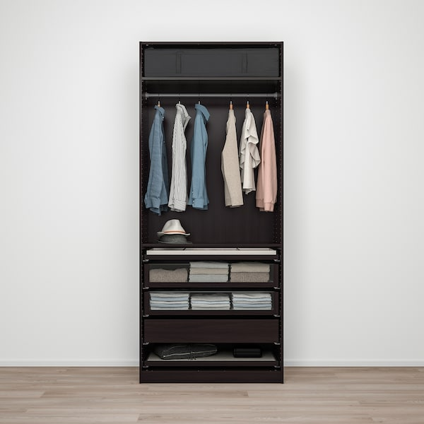PAX / FORSAND Wardrobe combination, black-brown/black-brown stained ash effect, 100x60x236 cm