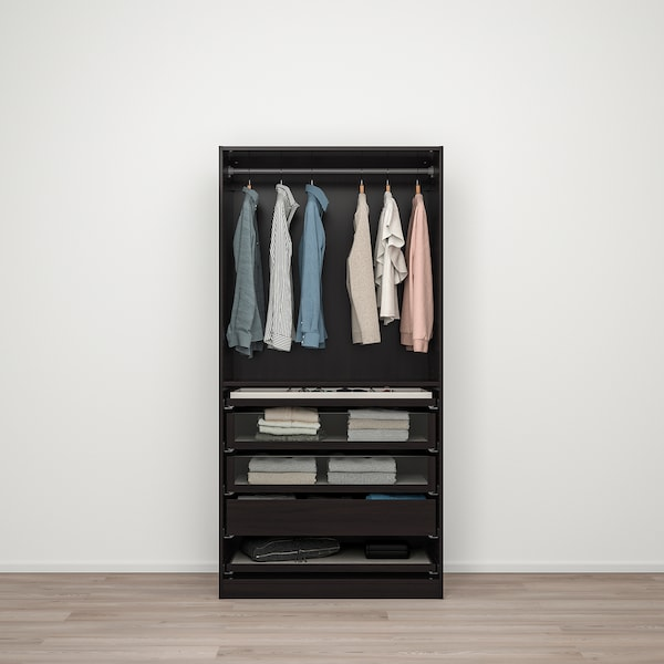 PAX / FORSAND Wardrobe combination, black-brown/black-brown stained ash effect, 100x60x201 cm