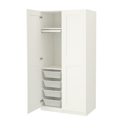 PAX / GRIMO Wardrobe combination, white/white, 100x60x201 cm