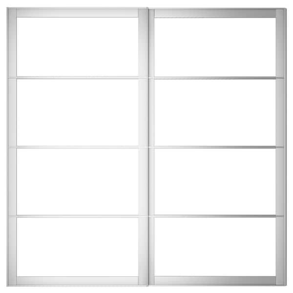 PAX Pair of sliding door frames w rail, aluminium, 200x201 cm