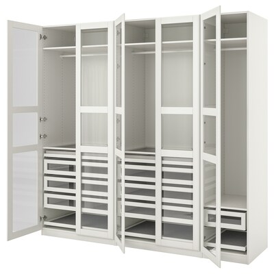PAX / TYSSEDAL Wardrobe combination, white/white glass, 250x60x236 cm
