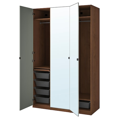 PAX / VIKEDAL wardrobe combination brown stained ash effect/mirror glass 150.0 cm 60.0 cm 236.4 cm