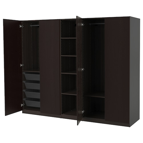 PAX wardrobe black-brown/Forsand black-brown stained ash effect 250 cm 60 cm 201.2 cm