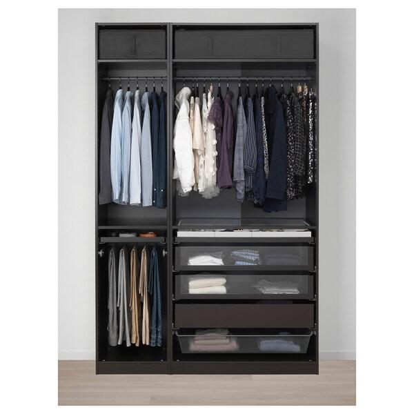 PAX wardrobe black-brown/Forsand black-brown stained ash effect 150 cm 60 cm 236.4 cm