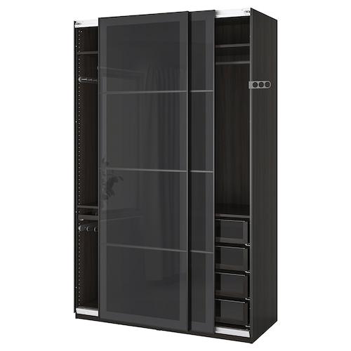 PAX wardrobe black-brown/Uggdal grey glass 150 cm 66 cm 236.4 cm