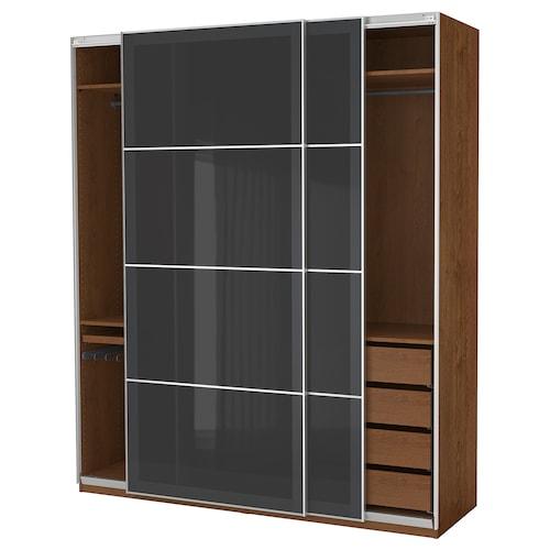 PAX wardrobe brown stained ash effect/Uggdal grey glass 200.0 cm 66.0 cm 236.4 cm