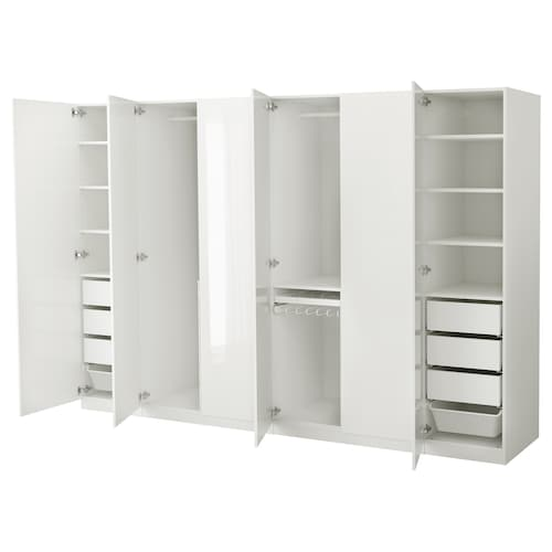 PAX wardrobe white/Fardal high-gloss/white 300 cm 60 cm 201.2 cm