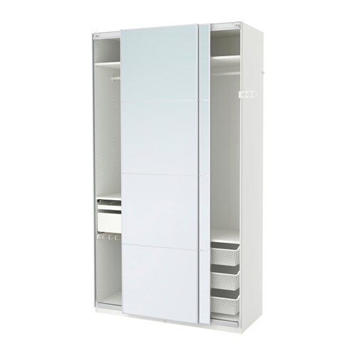 PAX Wardrobe white Auli mirror glass 150x66x236 cm soft closing device  sc 1 st  Ikea & PAX Wardrobe white Auli mirror glass - 150x66x236 cm - soft ...