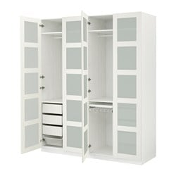PAX wardrobe, white, Bergsbo frosted glass