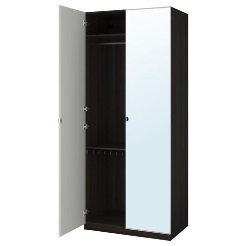 PAX wardrobe black-brown/Vikedal mirror glass 100.0 cm 60.0 cm 236.4 cm