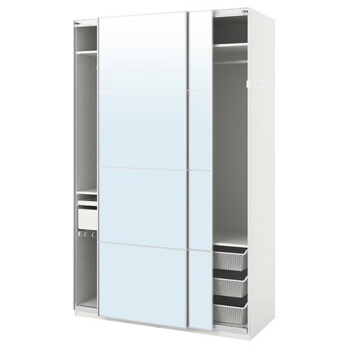 PAX wardrobe white/Auli mirror glass 150 cm 66 cm 236.4 cm