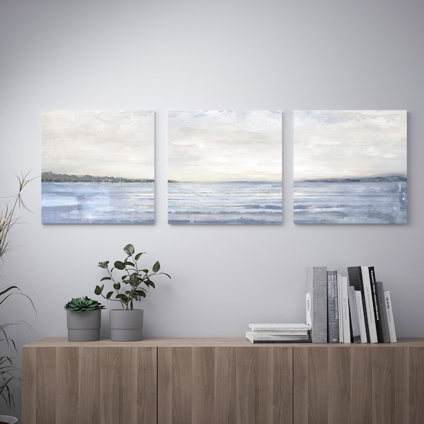 PJÄTTERYD Picture, set of 3, Coast, 56x56 cm
