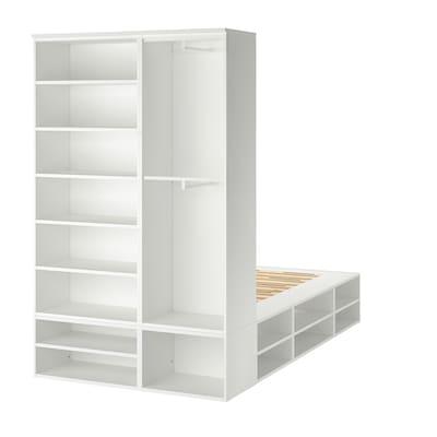 PLATSA هيكل سرير مع تخزين, أبيض, 140x244x223 سم