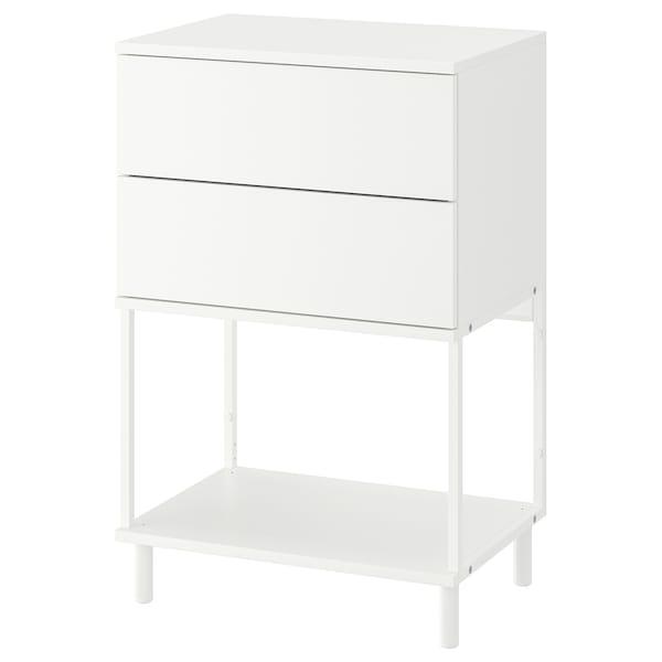 PLATSA Chest of 2 drawers, white/Fonnes, 60x42x93 cm