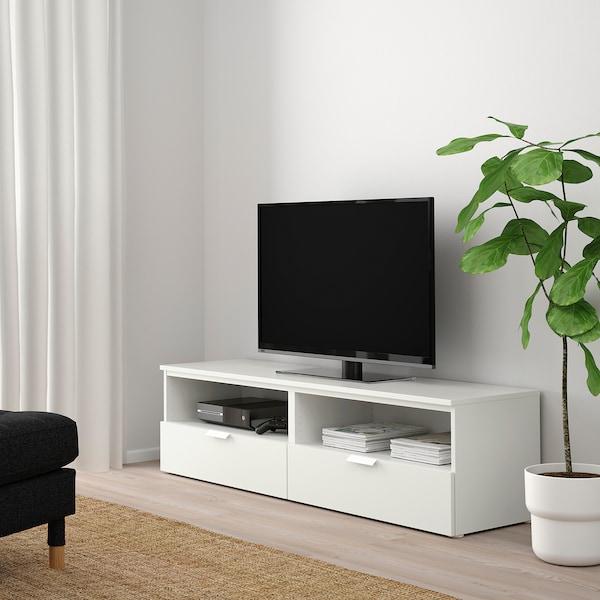 PLATSA TV bench with drawers, white/Fonnes white, 160x44x44 cm