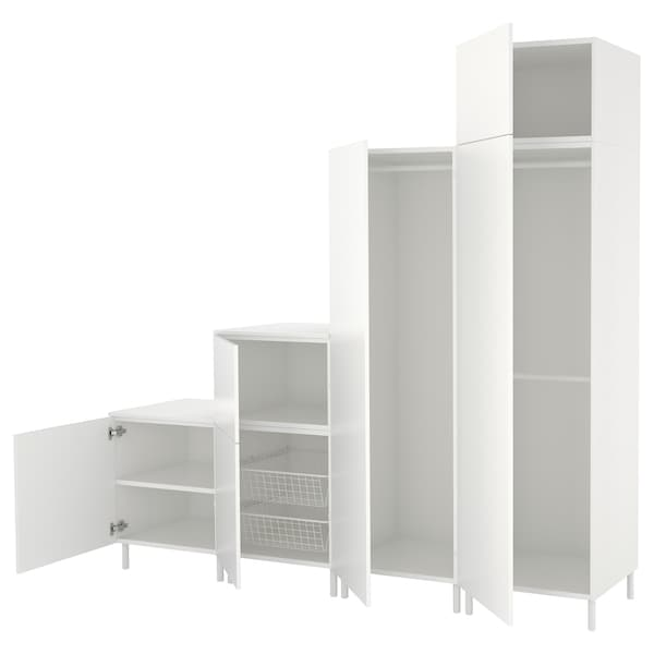 PLATSA Wardrobe, white/Fonnes white, 240x57x231 cm