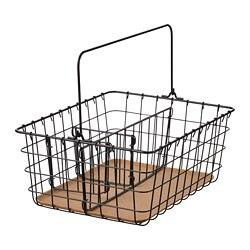 PLEJA wire basket with handle, black