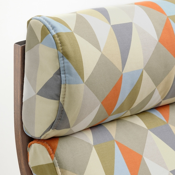 POÄNG Armchair, brown/Rockneby multicolour